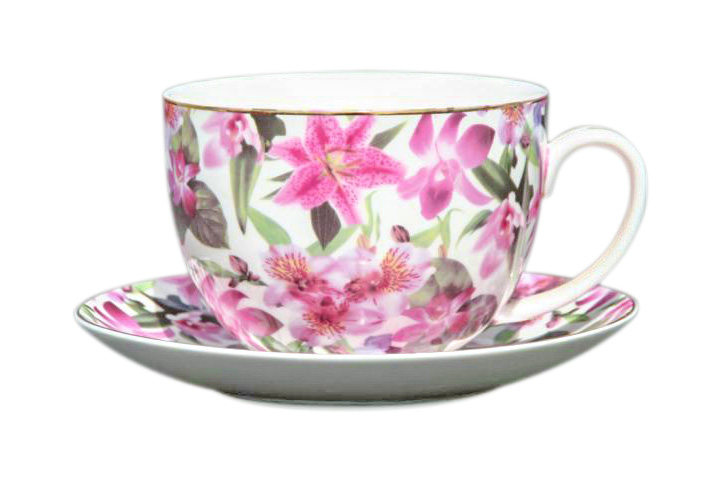 Lily Rainbow BIG Cup and Saucer Set